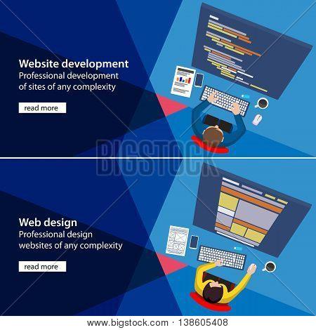 Flat website development and design process illustration. Material design color banners. Banner development and design process programmer site. Programmer and designer top view html code on monitor.