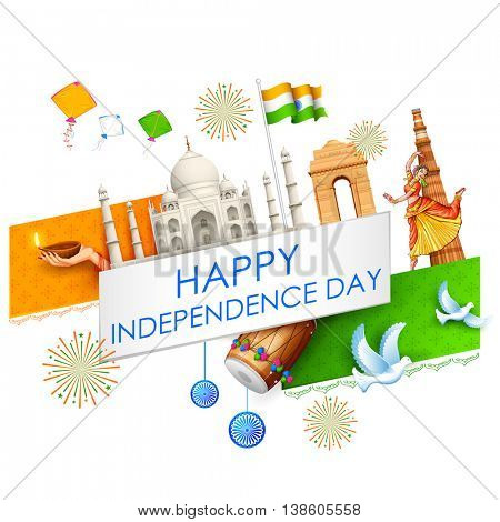 illustration of abstract Indian background with historical monument for Happy Independence Day of Indian