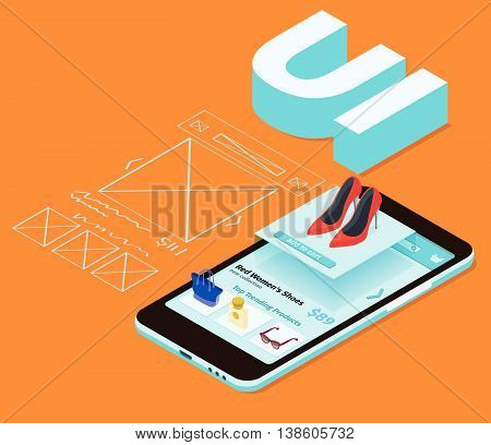 Sketch mobile application. Mobile app development 3d flat isometric illustration with smartphone. The process of developing the site interface. User interface UI