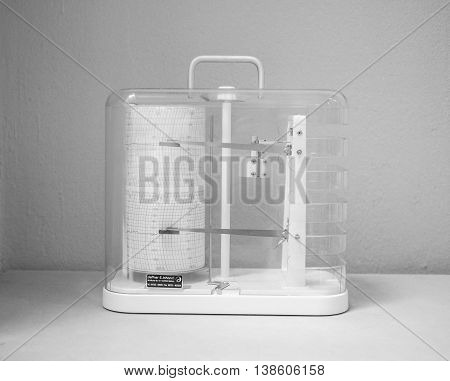 Hygrometer Measuring Instrument In Black And White