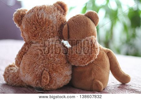 bears in an embrace, fur, brown, teddy, fluffy, bear, together, sweet, cute, toy,
