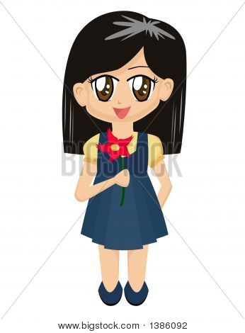 Cartoon Girl With Flower