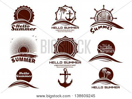 Sun and sea icons set. Hello Summer. Set of summer holidays labels with sun sea waves dawn seagulls palm trees anchor ship's helm and lettering. Vector icons isolated on white background