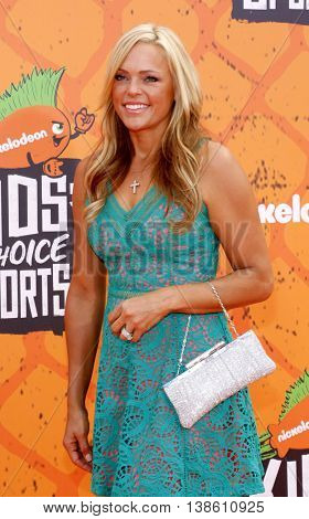 Jennie Finch at the Nickelodeon Kids' Choice Sports Awards 2016 held at the UCLA's Pauley Pavilion in Westwood, USA on July 14, 2016.