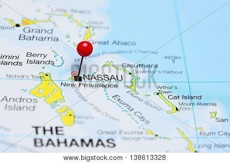 Nassau pinned on a map of Bahamas