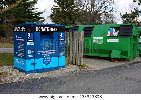 HARBOR SPRINGS, MICHIGAN / UNITED STATES - DECEMBER 25, 2015: Goodwill Northern Michigan maintains a donation box adjacent to the recycling station in Harbor Springs.