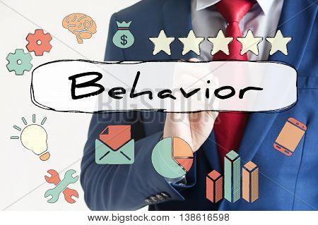 Behavior Drawn On Virtual Board By Businessman