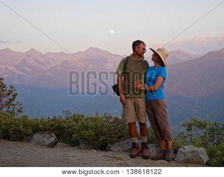 Moonlit Sierra Nevada mountains. Eagle View in Sequoia National Park Visalia Califlornia USA.