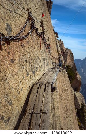 Scariest hiking trail in the world at Mount Huashan