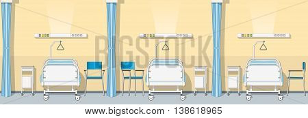 Illustration of a modern sickroom, vector illustration, seamless