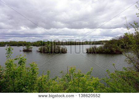 A view of Lake Renwick, in the Lake Renwick Heron Rookery Nature Preserve in Plainfield, Illinois, during May.