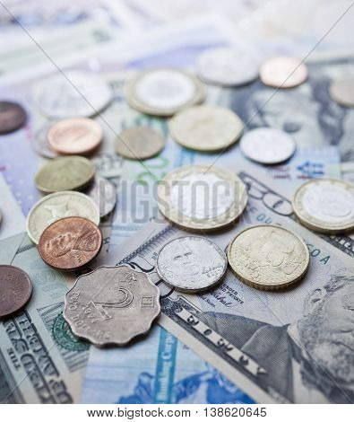 International currencies. Money from the United States Europe Britain and Hong Kong