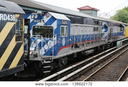 BROOKLYN, NEW YORK - JULY 9, 2016: NYC Subway Repair Train at Kings Highway Station in Brooklyn. Owned by the NYC Transit Authority, the subway system has 469 stations in operation