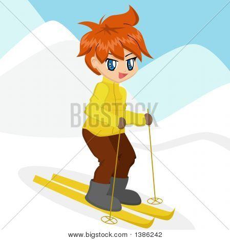 Cute cartoon boy in yellow jacket skiiing poster