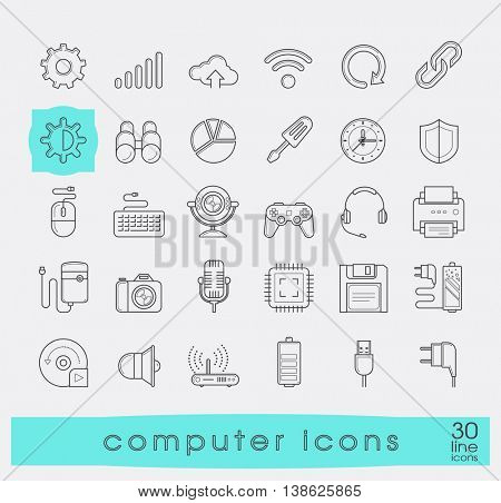 Set of computer icons. Premium quality vector illustration icons. Collection of icons for web and communication technology.