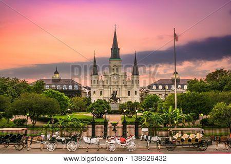 New Orleans, Louisiana at Jackson Square.