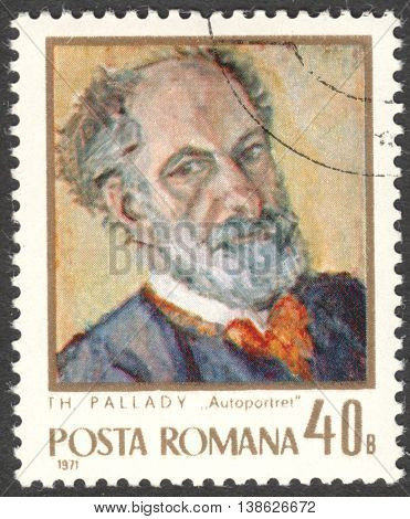 MOSCOW RUSSIA - CIRCA FEBRUARY 2016: a post stamp printed in ROMANIA shows self-portrait of Theodor Pallady the series