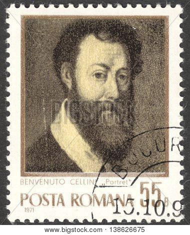 MOSCOW RUSSIA - CIRCA FEBRUARY 2016: a post stamp printed in ROMANIA shows self-portrait of Benvenuto Cellini the series