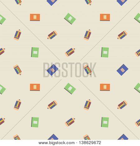 Seamless Vector Pattern, Chaotic Light Background With Pencils And Notepads