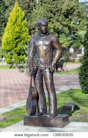 Sochi, Russia - February 11, 2016: Monument to a Russian singer-songwriter Vladimir Vysotsky