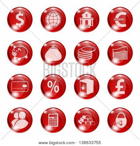Set of icons of red color on a subject bank. Business and Finance. Grouped for easy editing. Vector images.