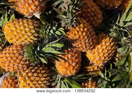 Pineapples At The Street Market, Vietnam