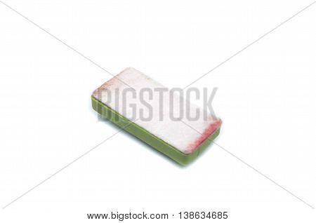 Brush erase on white background, Green brush