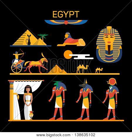 Vector set of Egypt characters with pharaoh, gods, pyramids, camels. Illustration with Egypt isolated objects.