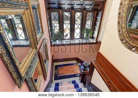 Great Panoramic View From Upstairs. Vintage Style House Interior.