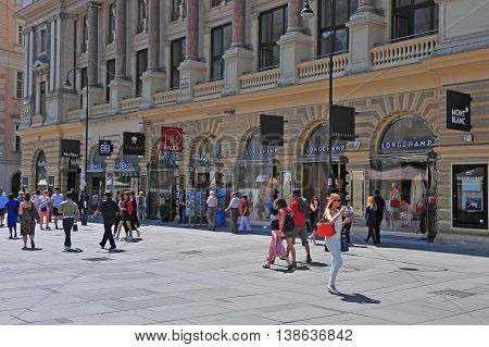 VIENNA AUSTRIA - JUNE 6: View of Graben shopping street in downtown of Vienna on June 6 2016. Vienna is the capital and largest city of Austria.