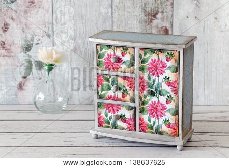 Decoupaged Jewelry Armoire