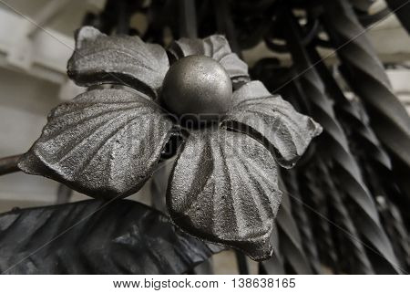 Hand forged flower close up stock photo