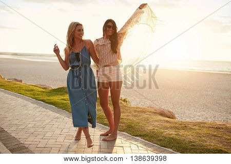 Friends Having Fun On The Sea Shore