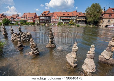 View to Little Venice aside the Regnitz in Bamberg
