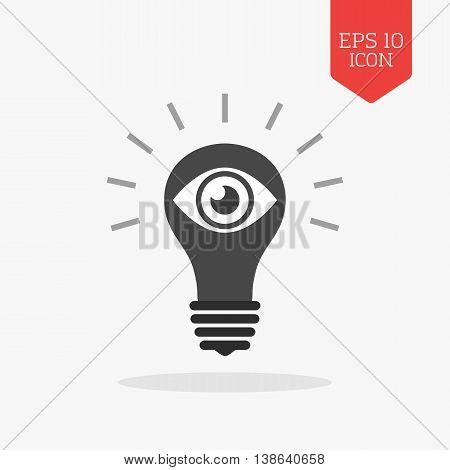 Light Bulb With Eye Icon. Vision Concept. Flat Design Gray Color Symbol. Modern Ui Web Navigation, S