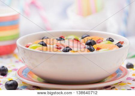 Delicious Milky Vanilla Pudding Colorful Fruit