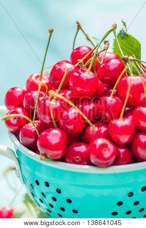 Fresh Red Cherry Fruit Green Colander