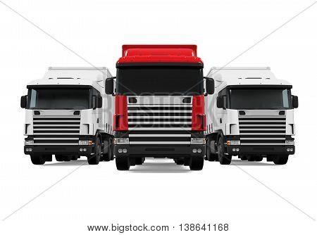 Trailer Truck Fleet isolated on white background. 3D render