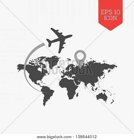 Airplane Flying Over World Map, Travel With Destination Concept. Flat Design Gray Color Symbol. Mode