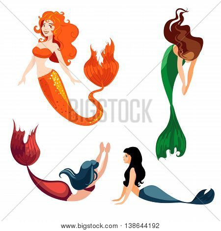 Set of mermaids isolated on white background. Mermaids in a cartoon style. Vector illustration.