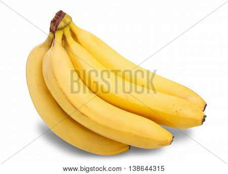 Bunch of bananas with shortcomings isolated on white background, clipping path