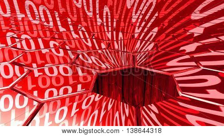 Big data concept digital red stream reflecting on a hexagon grid surface and a sinkhole absorbing all the datastreams 3D illustration