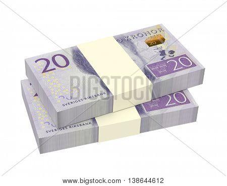 Swedish kronor isolated on white background. 3D illustration.