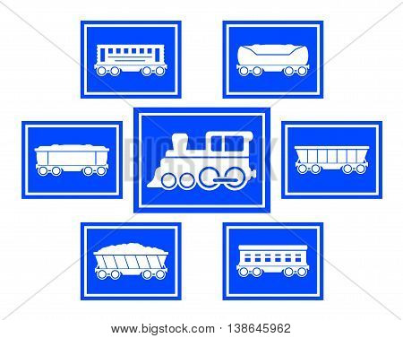 set of seven blue concept train icons