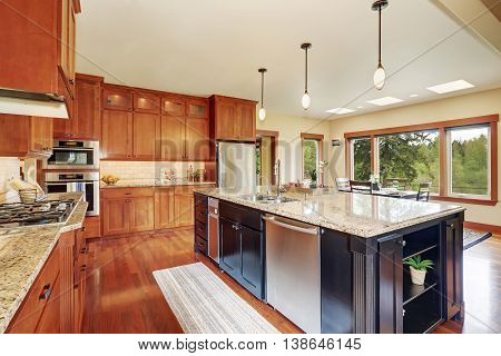 Kitchen Area With Open Floor Plan, View Of Dining Room