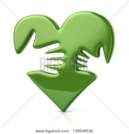3D Illustration Of Adult And Kid Hand On Green Heart