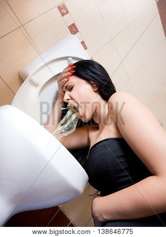 Girl Womiting In Bathroom