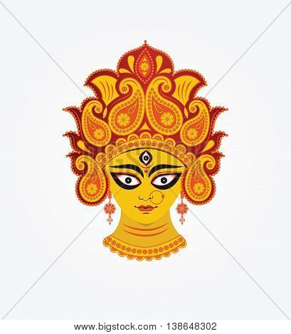 Hindu mythological Goddess Durga Face Illustration in White Background