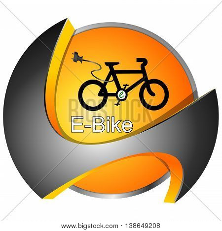 decorative silver orange E-Bike Button - 3D illustration