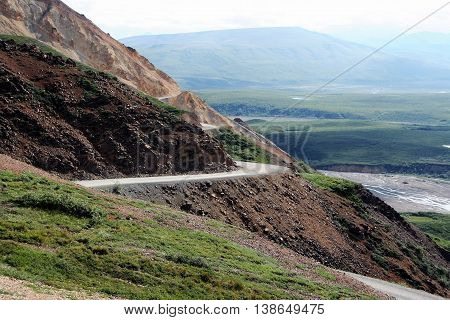 The long and winding road in Denali National Park Alaska